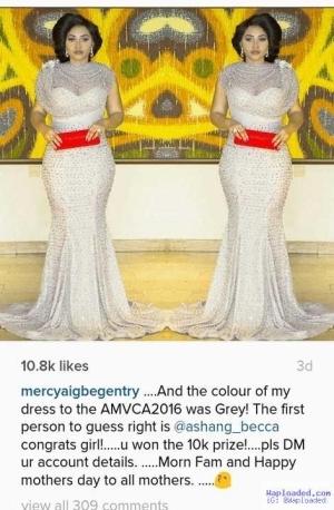 Photo: Actress Mercy Aigbe Rewards Fan With N10k For Predicting The Color Of Her AMVCA Outfit